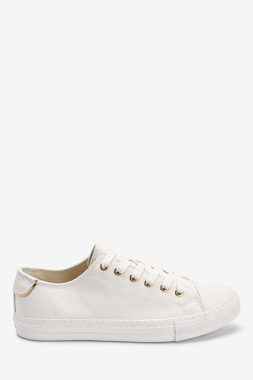 White Lace Up Baseball Trainers