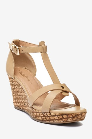 Wallis Whimsey Wide Fit Natural T-Bar Wedge Feature Sandals