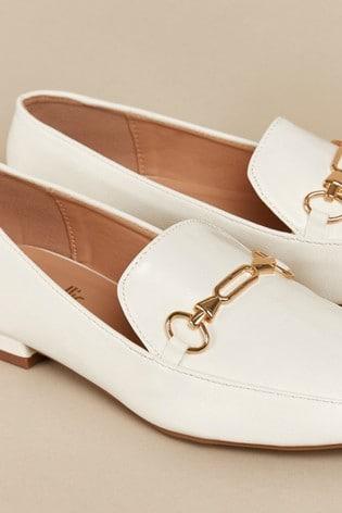 Wallis Brunette White Posh Trim Loafers
