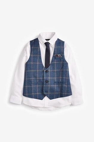 Blue Windowpane Check Waistcoat, Shirt and Tie Set (12mths-16yrs)