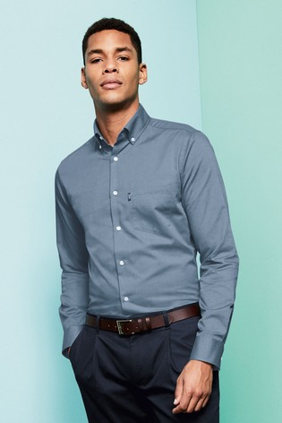 Blue Slim Fit Single Cuff Easy Iron Button Down Oxford Shirt