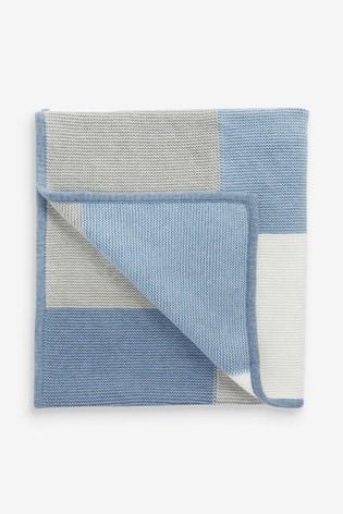 Blue Patchwork Knitted Blanket (Newborn)