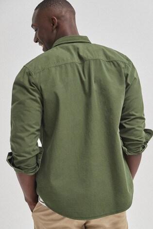 Khaki Regular Fit Ripstop Overdye Shirt