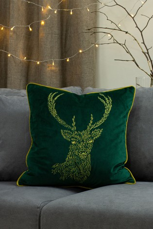 Forest Fauna Embroidered Cushion by Furn