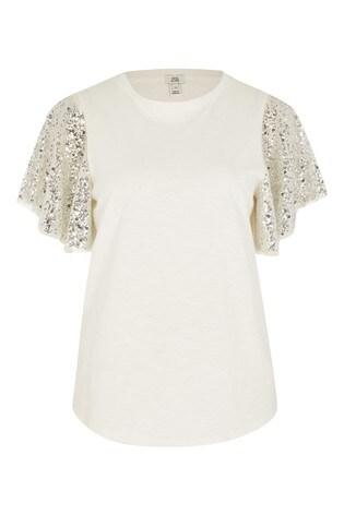 River Island Grey Light Sequin Angel Sleeve T-Shirt