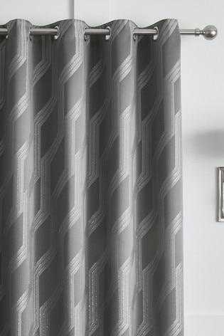 Curtina Houston Angular Geo Jacquard Lined Eyelet Curtains
