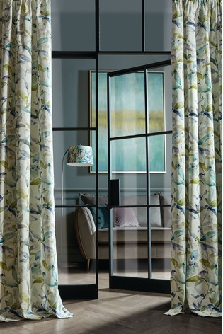 Voyage Naura Abstract Leaf Pencil Pleat Curtains