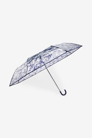 Clear Butterfly Print Croock Handle Umbrella