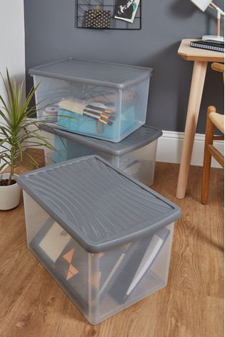 Set of 3 Wham 54Ltr Plastic Storage Boxes And Lids