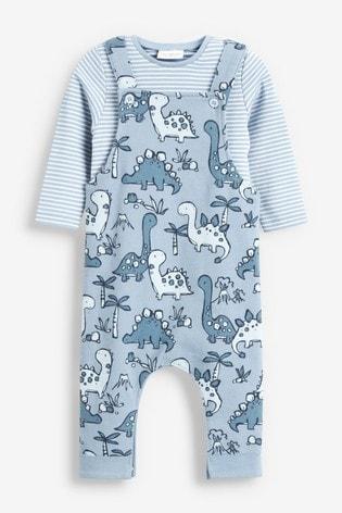 Blue Dinosaur Jersey Dungarees And Bodysuit Set (0mths-2yrs)