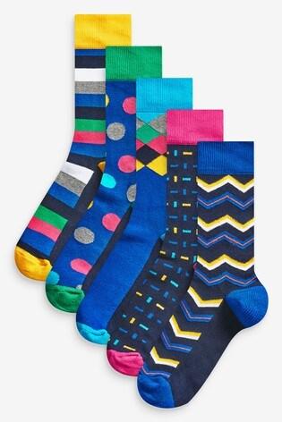 Bright Geometric Pattern Socks Five Pack