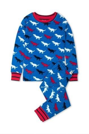 Hatley Blue T-Rex Silhouettes Organic Cotton Pyjama Set