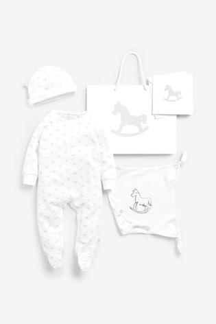 The Little Tailor White Sleepsuit, Hat & Comforter Gift Set