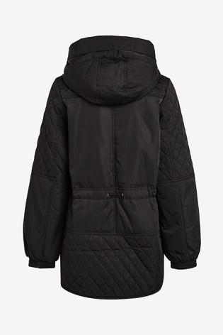 Black Quilted Rain Mac