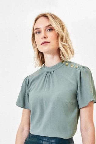 Oasis Green Button Shoulder T-Shirt