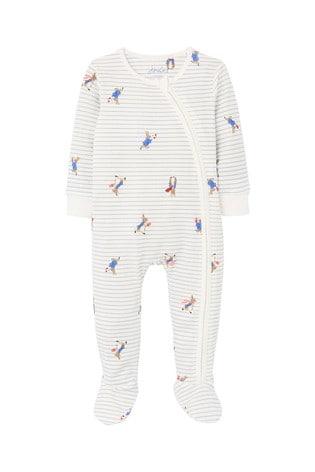 Joules Grey Peter Rabbit Zippy Organically Grown Cotton Zip Sleepsuit