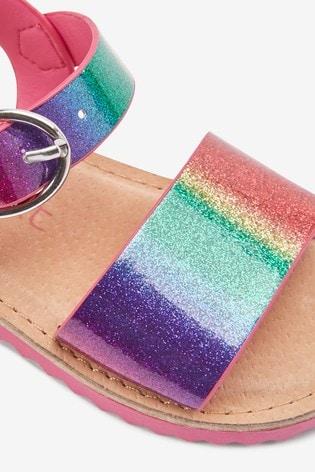 Rainbow Glitter Buckle Sandals
