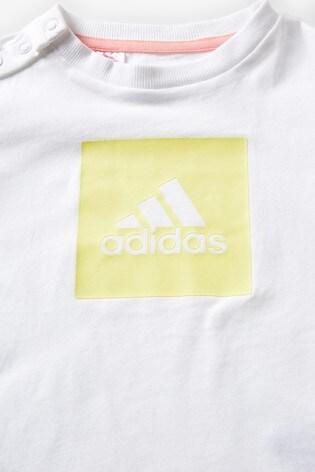 adidas Infant White/Pink T-Shirt And Short Set
