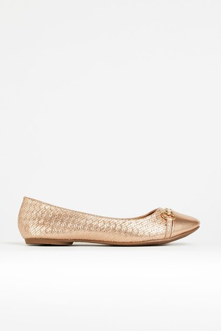 Wallis Belle Pink Bar Trim Ballerina Shoes