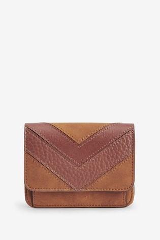 Tan Splice Detail Leather Look Purse