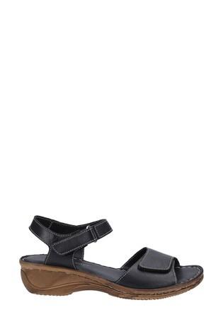 Fleet & Foster Black Linden Touch Fastening Sandals