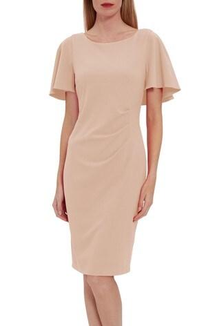 Gina Bacconi Chana Stretch Crepe Dress With Tucks