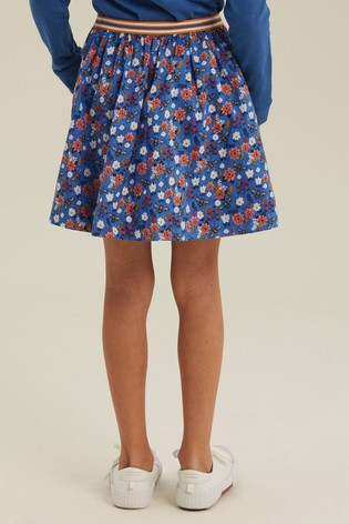 FatFace Blue Bee Print Skirt