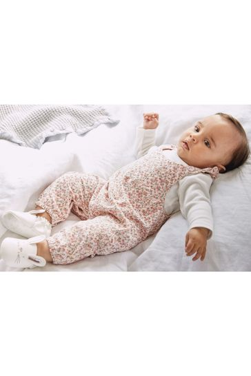 Pink Ditsy Dungarees (0mths-2yrs)