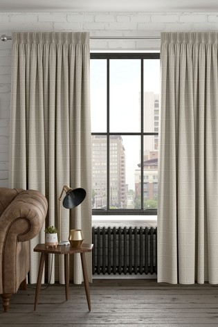 Windowpane Check Natural Made To Measure Curtains