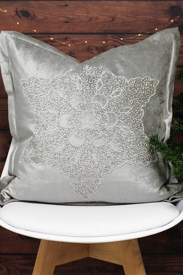 Riva Home Silver Woodland Snowflake Cushion
