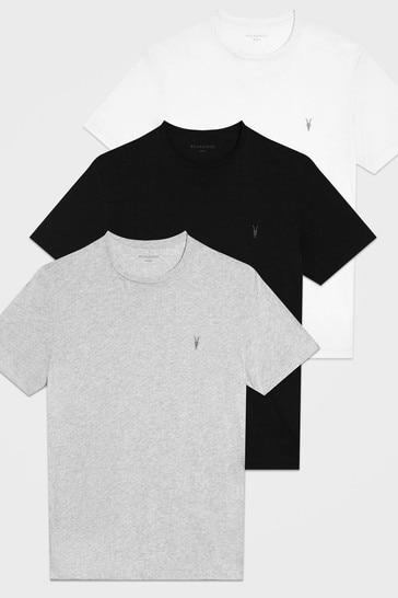 AllSaints White/Black/Grey Tonic T-Shirt Three Pack