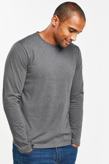 Charcoal Marl Regular Fit Long Sleeve Crew Neck T-Shirt