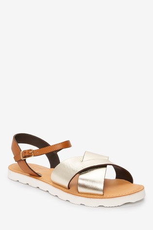 Metallic Regular/Wide Fit Forever Comfort® Leather Sporty Sole Sandals