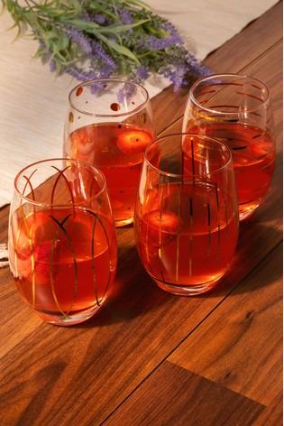 Set of 4 Mikasa Cheers Stemless Wine Glasses