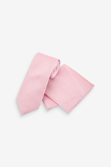 Pink Regular Silk Tie And Pocket Square Set