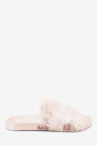 Rose Gold Open Toe Marabou Sliders