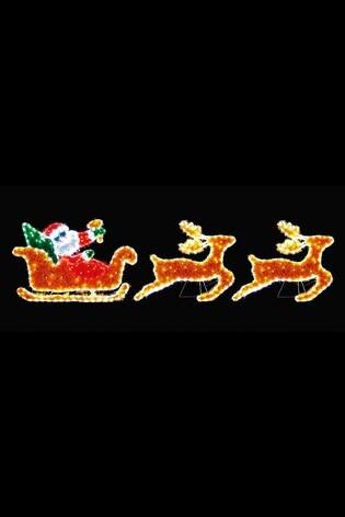 Premier Decorations Ltd Tinsel Santa With Sleigh Rope Light