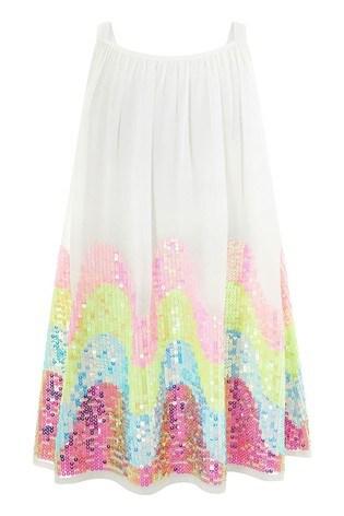 Monsoon White Sophia Sequin Dress