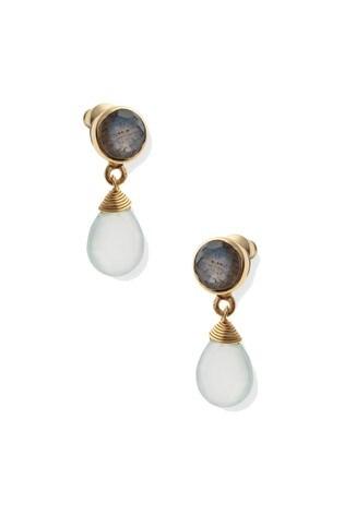 Oliver Bonas Grey Leora Facet Stone Brass Earrings