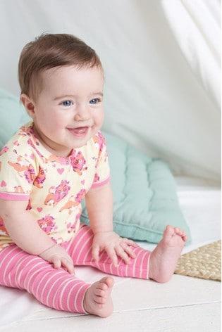 Hatley Pink Lovely Organic Cotton Baby Short Sleeve Pyjamas