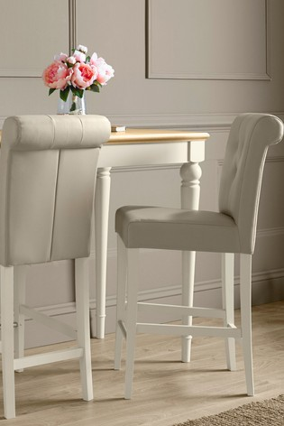 Set of 2 Montreux Antique White Upholstered Bar Stool Sand by Bentley Designs