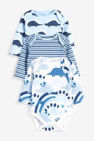 Blue 3 Pack GOTS Organic Dinosaur Long Sleeve Bodysuits (0mths-3yrs)