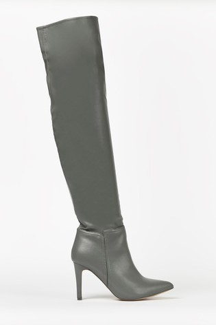 Wallis Puzzle Grey Straight Heel Over The Knee Boots