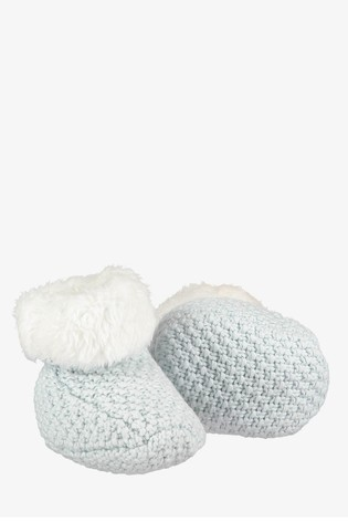 The Little Tailor Soft Blue Knitted Plush Lined Booties