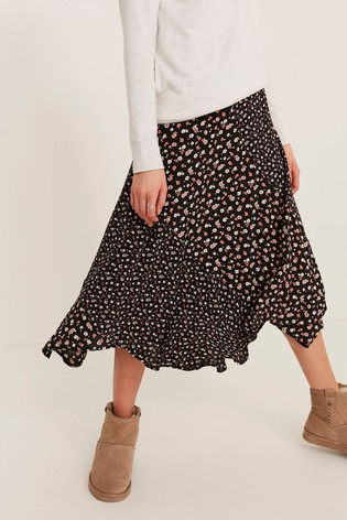 FatFace Black Naomi Pop Ditsy Midi Skirt