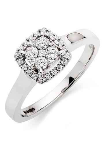 Beaverbrooks 9ct Diamond Cluster Ring