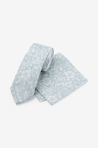 Sage Floral Silk Tie And Pocket Square Set