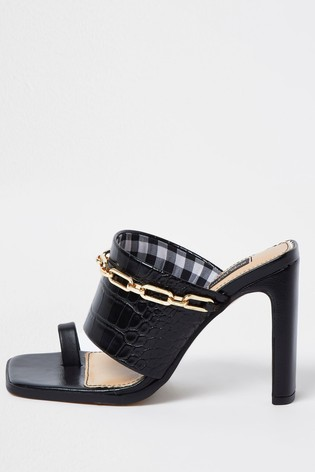 Buy River Island Black 5040 Chain City Mules from the Next ...