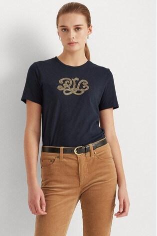 Lauren Ralph Lauren® Navy Embellished Logo Katlin T-Shirt