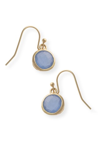 Oliver Bonas Blue Kosi Round Facet Brass Earrings
